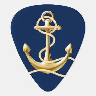 Azules marinos náuticos de la púa de guitarra del