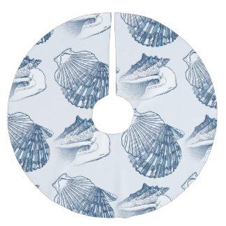 Azules marinos náuticos del modelo del Seashell Falda Para El Árbol De Navidad De Poliéster
