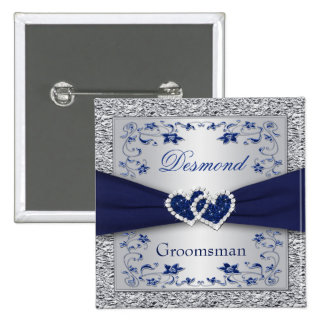 Azules marinos, padrino de boda floral de la plata chapa cuadrada