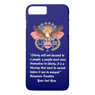 Azules marinos profundos de la paz patriótica de funda iPhone 7 plus