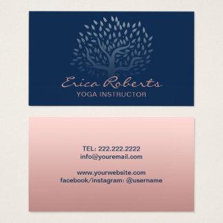 Azules marinos subiós árbol del oro del vintage tarjeta de visita