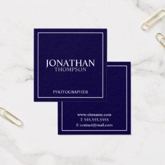 Azules marinos y blanco clásicos profesionales tarjeta de visita cuadrada