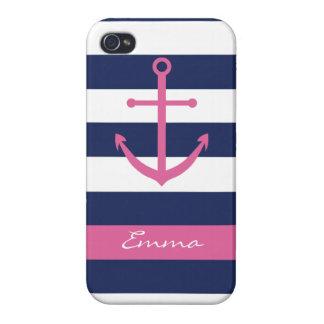 Azules marinos y caso rosado del monograma del anc iPhone 4 cárcasas
