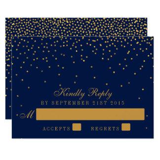 Azules marinos y confeti atractivo del oro que invitación 8,9 x 12,7 cm