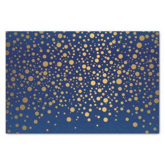 Azules marinos y confeti metálico del oro papel de seda