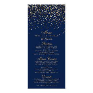 Azules marinos y menú atractivo del boda del tarjeta publicitaria