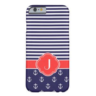Azules marinos y monograma de encargo náutico de funda de iPhone 6 barely there