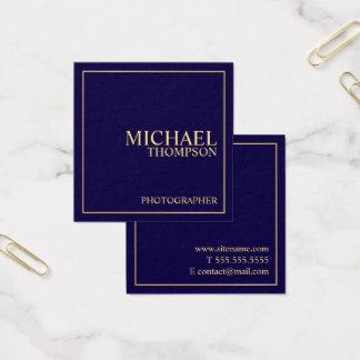 Azules marinos y oro elegantes profesionales tarjeta de visita cuadrada