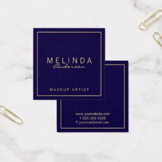 Azules marinos y oro modernos simples tarjeta de visita cuadrada