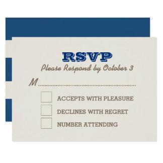Azules marinos y tarjeta de plata de RSVP