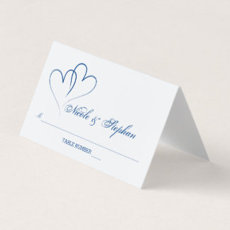 Azules náuticos tarjeta entrelazada dos corazones