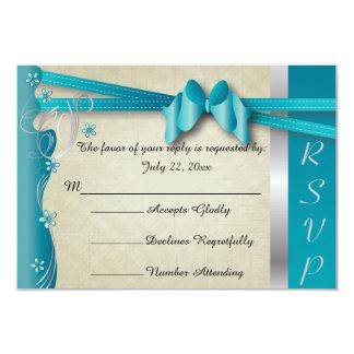 Azules turquesas Curvy con clase del diseño el | Invitación 8,9 X 12,7 Cm