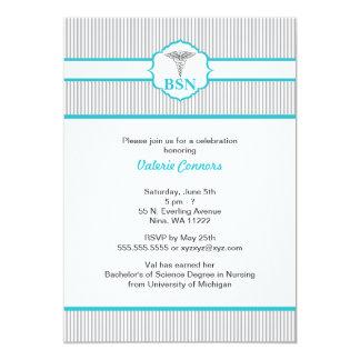 Azules turquesas de la graduación del RN BSN LPN Invitación 12,7 X 17,8 Cm