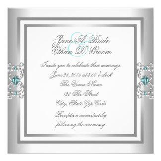 Azules turquesas elegantes y bodas de plata invitaciones personalizada