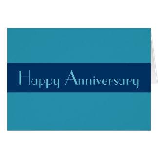 Azules turquesas felices del aniversario tarjeta pequeña