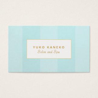 Azules turquesas ligeras elegantes simples rayadas tarjeta de visita