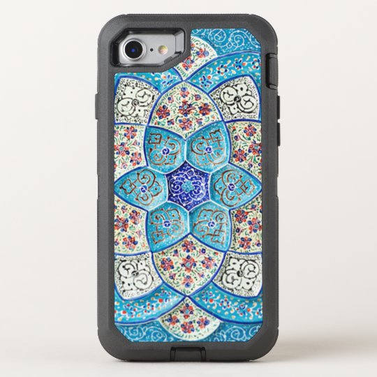 Azules turquesas marroquíes tradicionales, blanco, funda OtterBox defender para iPhone 7