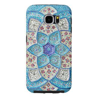 Azules turquesas marroquíes tradicionales, blanco, funda samsung galaxy s6