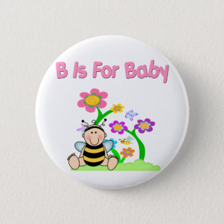 B está para el bebé chapa redonda de 5 cm