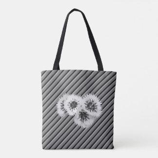 B y bolso rayado floral del boda del monograma de bolsa de tela