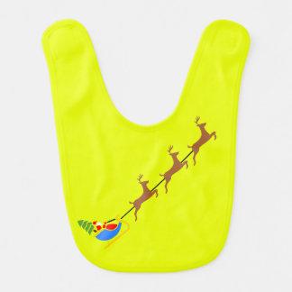 Babero amarillo del bebé de los ciervos de Santa