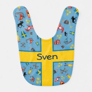 Babero Artículos suecos de la cultura con la bandera