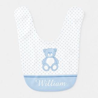 Babero azul del bebé del oso de peluche