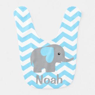 Babero azul personalizado bebé de Chevron del