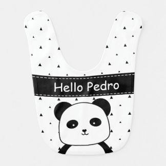 Babero Bebé blanco y negro del monocromo de la panda