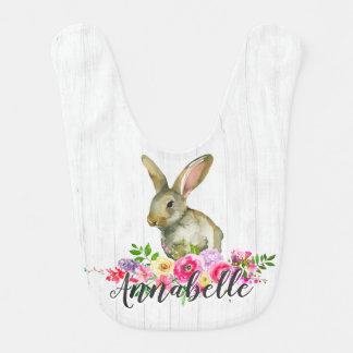 Babero Bebé floral Monog de la acuarela del conejo de