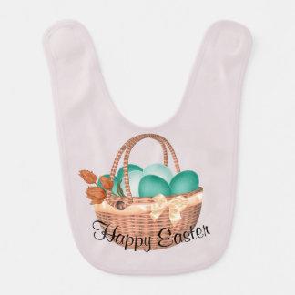 """Babero Cesta de """"Pascua feliz"""" de huevos y de conejito"""