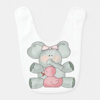 Babero Chicas del blanco del elefante del bebé