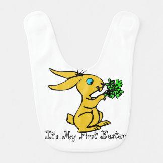 Babero Conejito amarillo lindo para Pascua feliz preciosa