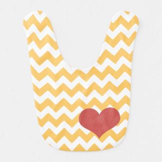 Babero Corazón amarillo del zigzag de Chevron