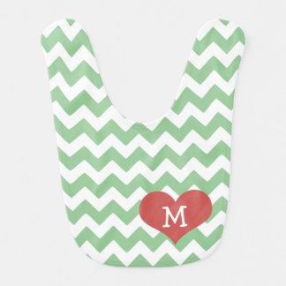 Babero Corazón verde del zigzag de Chevron con monograma