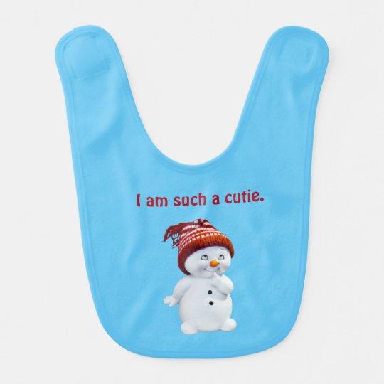 Babero del bebé de Cutie del muñeco de nieve