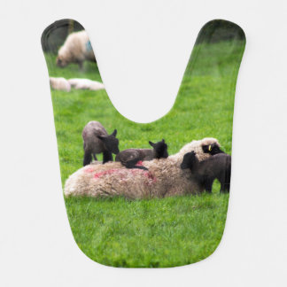 Babero del bebé de la familia de las ovejas y de