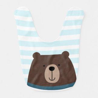 Babero del bebé del muchacho del oso con las rayas