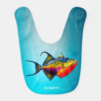 Babero Dibujo colorido psicodélico de los pescados del
