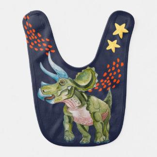 Babero Dinosaur in watercolor Baby Shower.