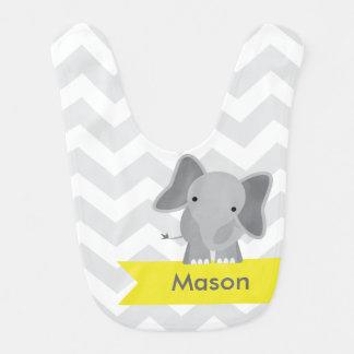 Babero Elefante amarillo gris personalizado de Chevron