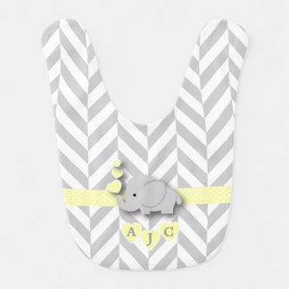 Babero Elefante amarillo y blanco del monograma de