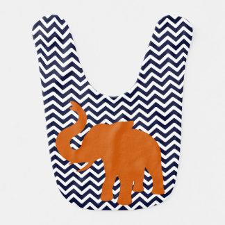 Babero Elefante anaranjado con Chevron azul