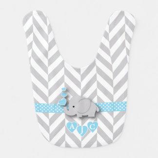 Babero Elefante azul y blanco del monograma de Chevron