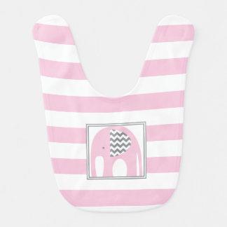 Babero Elefante del bebé rayas rosadas y grises del | de