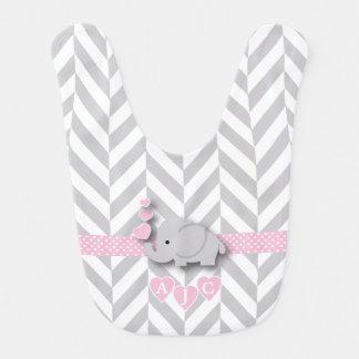 Babero Elefante rosado y blanco del monograma de Chevron
