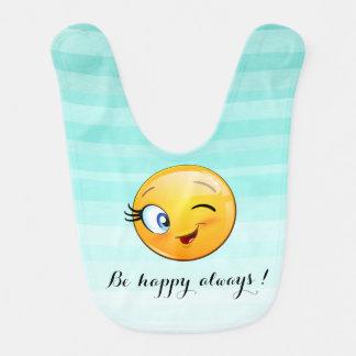 Babero Emoji sonriente de guiño adorable Cara-Es feliz