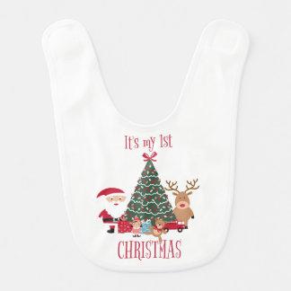 Babero Es mi primer árbol de navidad Santa y reno