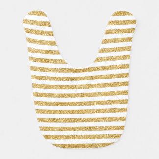 Babero Falso brillo elegante del oro y modelo blanco de
