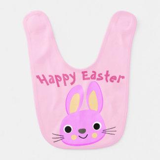 Babero feliz rosado de encargo del bebé de Pascua